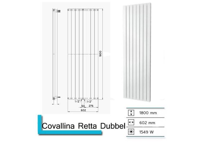 Handdoekradiator Covallina Retta Dubbel 1800 x 602 mm Donker grijs structuur