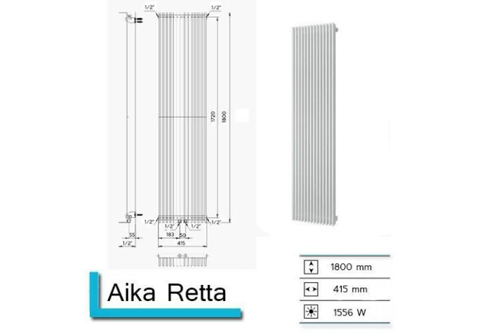 Handdoekradiator Aika Retta 1800 x 415 mm Antraciet Metallic