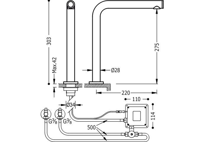 Elektronische kraan TOUCH-TRES 303mm menger (Keukenkraan)