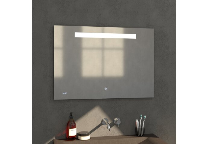 Badkamerspiegel met LED Verlichting Sanitop Clock 100x70 cm met Digitale Klok en Sensor