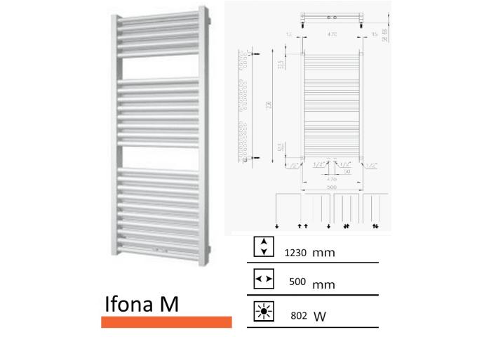 Badkamerradiator Ifona M 1230 x 500 mm Wit structuur
