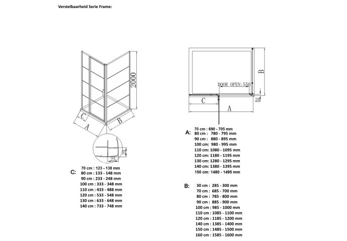 BWS Inloopdouche Frame 70x200 cm 8mm NANO Glas Mat Zwart Raster