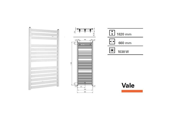 Handdoekradiator Boss & Wessing Vale 1820 x 660 mm