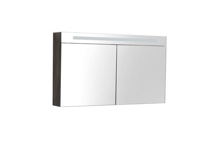 Spiegelkast Sanilux Deluxe 120x70x16cm met TL verlichting en stopcontact Grey Oak