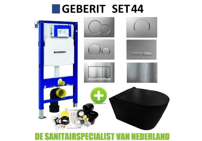 Geberit UP320 Toiletset set44 Civita Black Rimless Mat Zwart Met Sigma Drukplaat