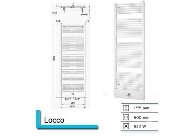 Handdoekradiator Locco 1775 x 600 mm Donker grijs structuur
