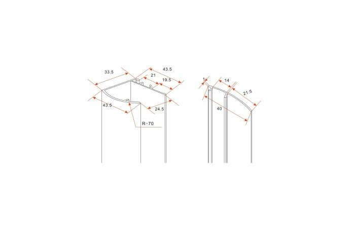 Chroom muurprofiel glaswand dikte 1cm  L=200cm