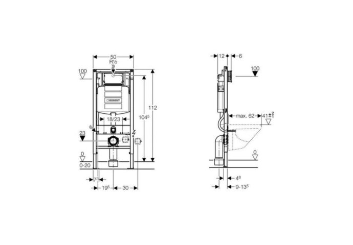 Geberit Duofix Sigma UP320 Inbouwreservoir H112 Cm