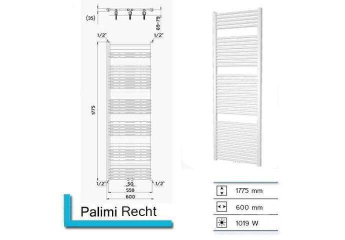 Handdoekradiator Palimi Recht 1775 x 600 mm Donker grijs structuur