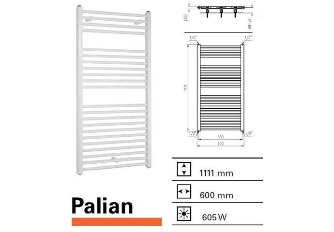 Handdoekradiator Boss & Wessing Palian 1111 x 600 mm    Tegeldepot.nl