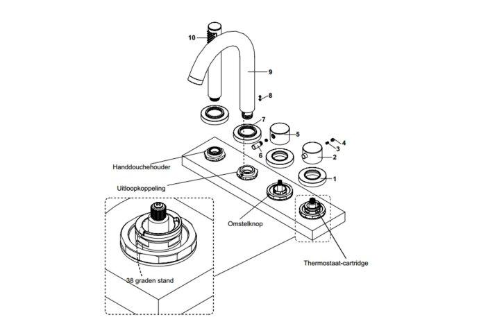 Caral 4-gats badrandthermostaat chroom afbouwset