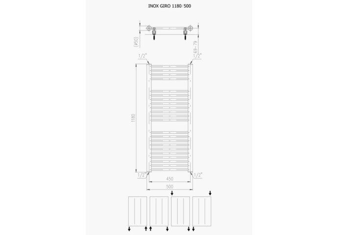 Designradiator Plieger Inox Giro Zijaansluiting 118x50 cm 391 Watt Inox-Look
