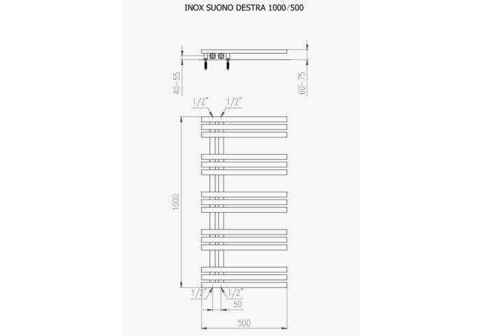 Designradiator Plieger Inox Suono Destra Middenaansluiting 100x50 cm 464 Watt Inox-Look