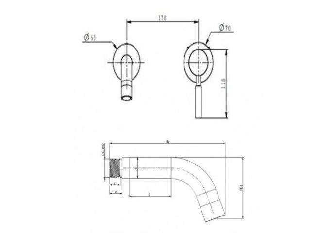 Wastafelkraan Best Design Ore Wand inbouw Uitloop 21cm RVS | Tegeldepot.nl