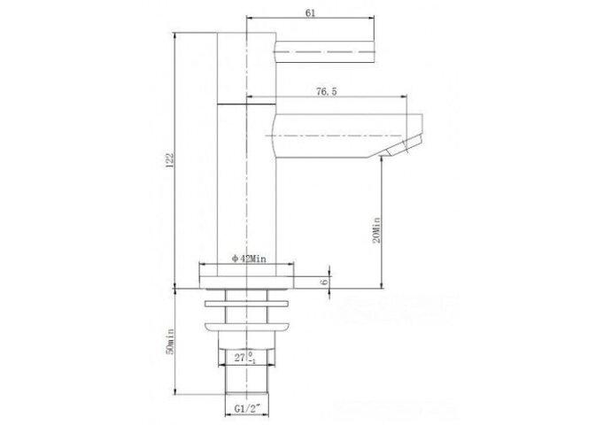 Fonteinkraan Amador Ker. 1/2 geborsteld staal (Fonteinkranen)