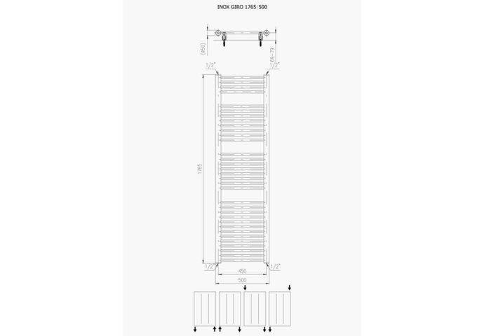 Designradiator Plieger Inox Giro Zijaansluiting 176,5x50 cm 587 Watt Inox-Look