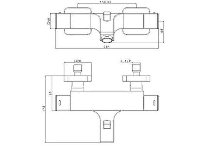 Badkraan thermostatisch Kubus chroom (Badrandkraan)