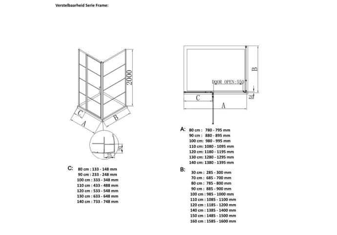 BWS Inloopdouche Frame 120x200 cm 8mm NANO Glas Mat Groen Raster