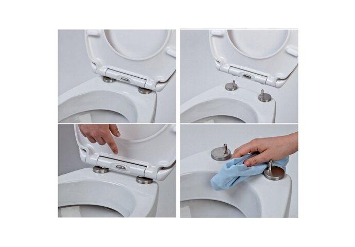 Toiletzitting Eisl Super Slim Softclose Quick release RVS Scharnieren Wit