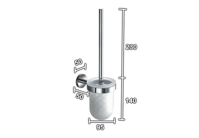 Toiletborstelhouder Sanilux Alesa Rond Chroom Met steel Hangend