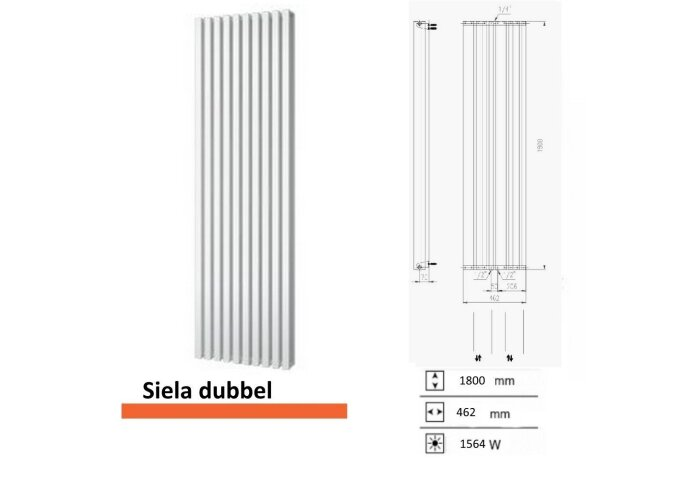 Handdoekradiator Boss & Wessing Siela Dubbel 1800 x 462 mm
