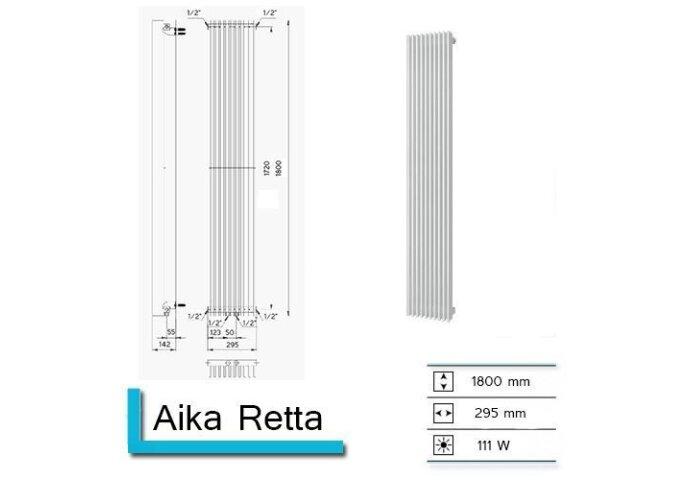 Handdoekradiator Aika Retta 1800 x 295 mm Donker Grijs