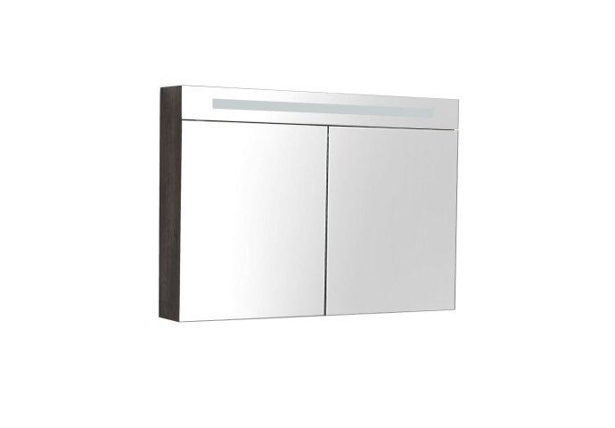 Spiegelkast Sanilux Deluxe 100x70x16cm met TL verlichting en stopcontact Grey Oak
