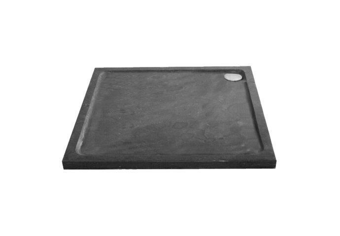 Douchebak Natuursteen Sanilux Jory 100x100x40cm Vierkant Zwart/bruin