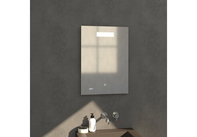 Badkamerspiegel met LED Verlichting Sanitop Clock 50x70 cm met Digitale Klok en Sensor