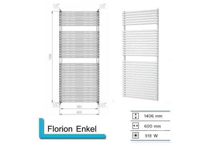 Handdoekradiator Florion Enkel 1406 x 600 mm Donker grijs structuur