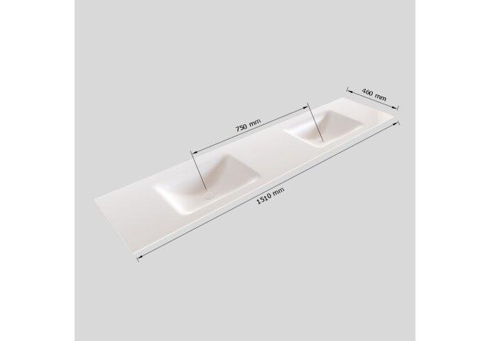 Badkamermeubel Solid Surface BWS Oslo 150x46 cm Dubbel Mat Wit 4 Laden (0 kraangaten)