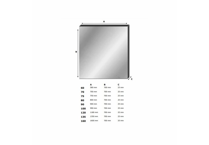 Spiegel Alu 100 (99x70cm)