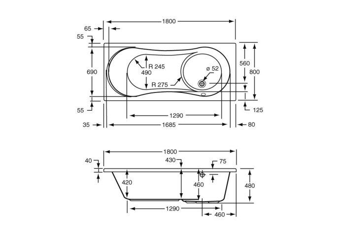 Ligbad met Geïntegreerd Douchegedeelte Plieger Space Acryl 180x80x46 cm Wit