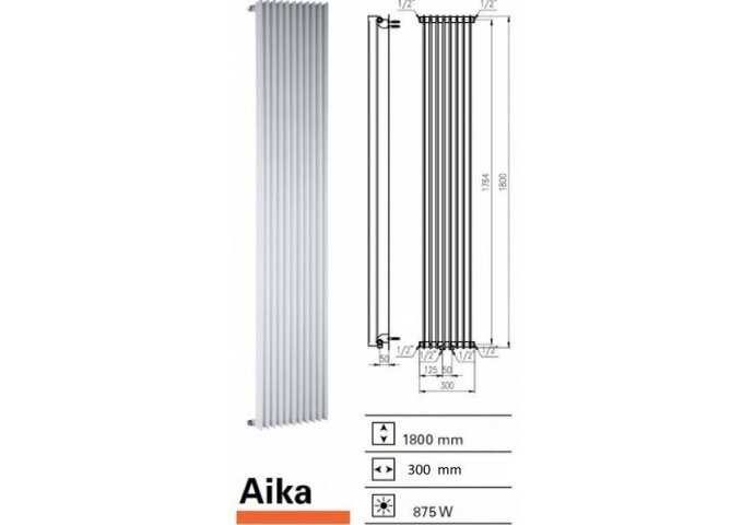 Designradiator Aika 1800 x 300 mm Donker grijs