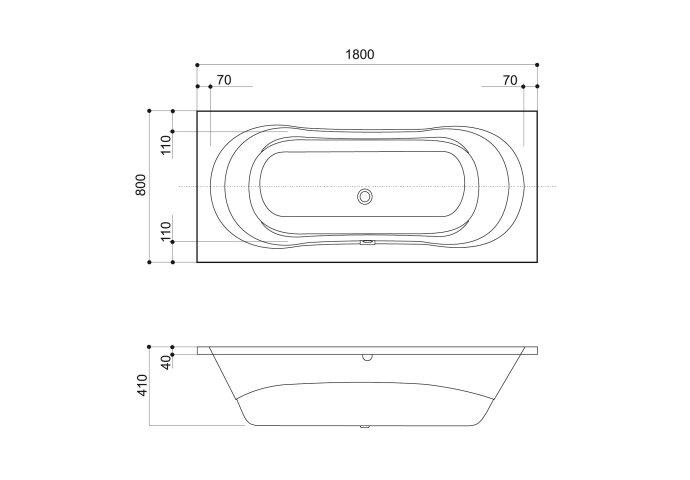 VM GO Jersey Ligbad 180x80cm Acryl 41cm Diep Inclusief Potenstel