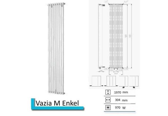 Designradiator Vazia M Enkel 1970 x 304 mm Parelgrijs (Pearl grey)