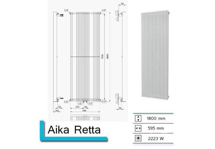 Handdoekradiator Aika Retta 1800 x 595 mm Mat Wit