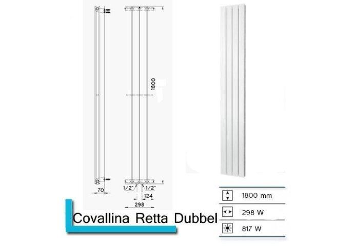 Designradiator Covallina Retta Dubbel 1800 x 298 mm Antraciet Metallic