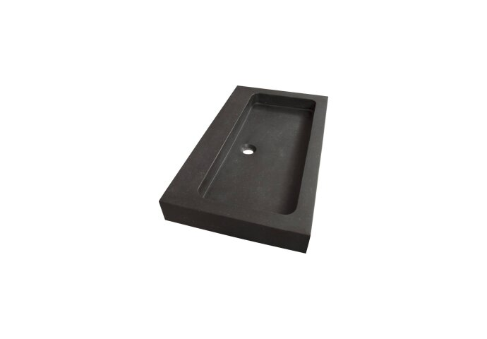 Wastafelblad Natuursteen Black Spirit 80 1 kraangat