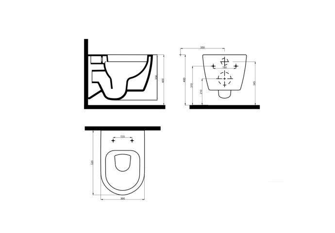 Wandcloset Idevit Alfa Rimfree Wit Keramiek Diepspoel 36x52x30cm (Excl. zitting)
