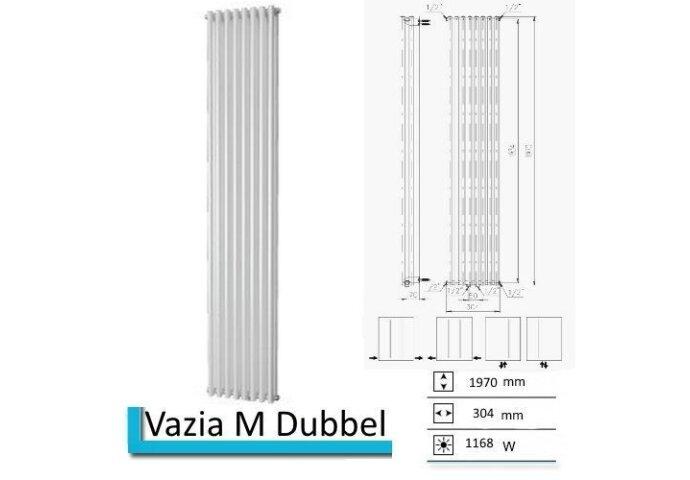 Handdoekradiator Vazia M Dubbel 1970 x 304 mm Zilver metallic