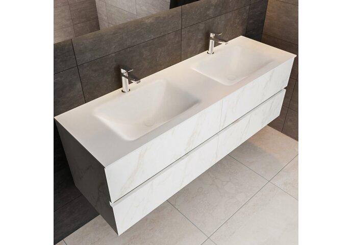 Badkamermeubel Bws Valencia Carrara Mat 200 Cm Solid Surface Wastafel Rechthoekige Wasbak Dubbel 2 Kraangaten 4