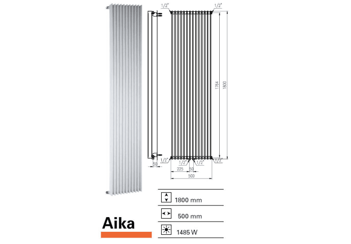 Designradiator Aika 1800 x 500 mm Donker Grijs