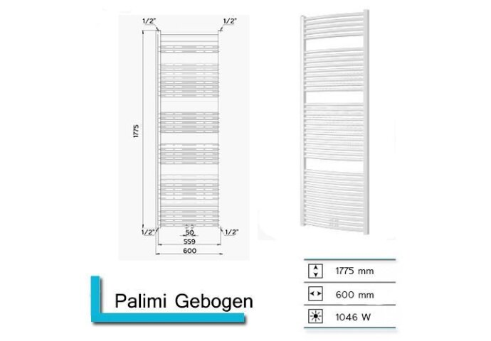 Handdoekradiator Palimi Gebogen 1775 x 600 mm Mat wit