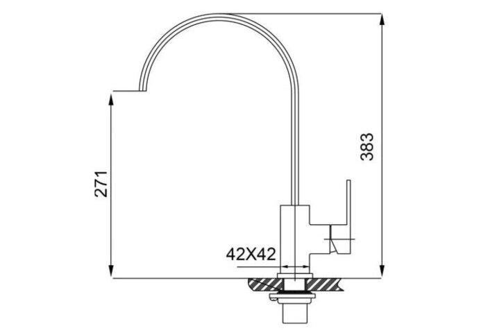 304-Dean RVS Keukenkraan vierkant (Keukenkraan)