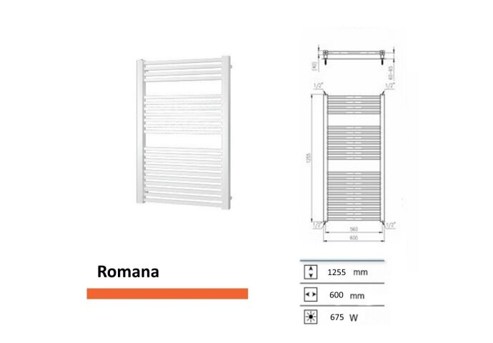 Designradiator Boss & Wessing Romana 1255 x 600 mm