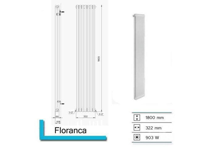 Designradiator Plieger Florence 903 Watt Zijaansluiting 180x32,2 cm Pergamon