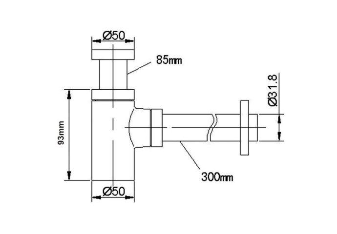 Wiesbaden Luxe bekersifon compact rond incl muurbuis en rozet. Inox/RVS (Bekersifon)