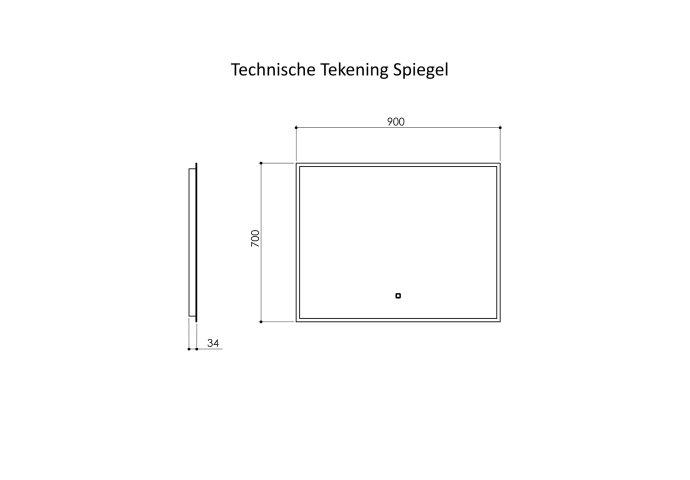 Badkamermeubelset Industrieel BWS Frame Hangend 90 Mat Zwart Aluminium (1 kraangat)