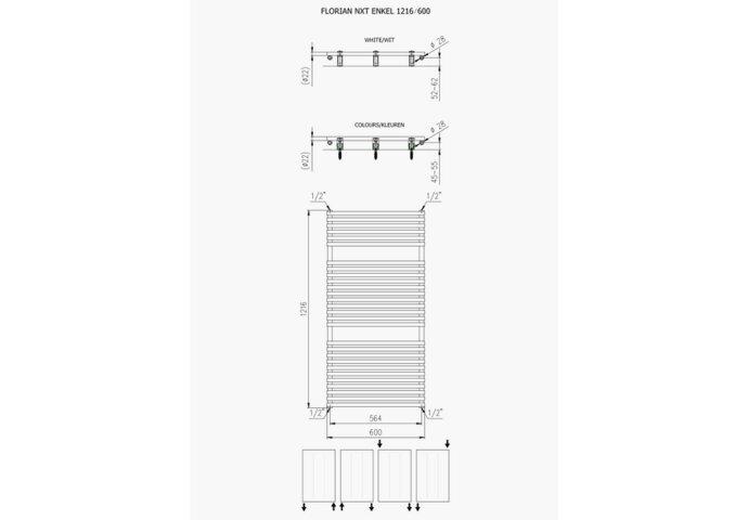 """Designradiator Florion Nxt 121,6 x 60 cm 750 Watt Wit: Hoogte: 121,6 cm Breedte: 60 cm Diepte: 4,9 cm Materiaal: Staal Kleur: Wit Capaciteit: 750 Watt Aansluiting: 1/2"""" Aantal ribben: 28 Stralingsbuis: Horizontaal Geschikt voor vochtige ruimte: Ja Met bev"""